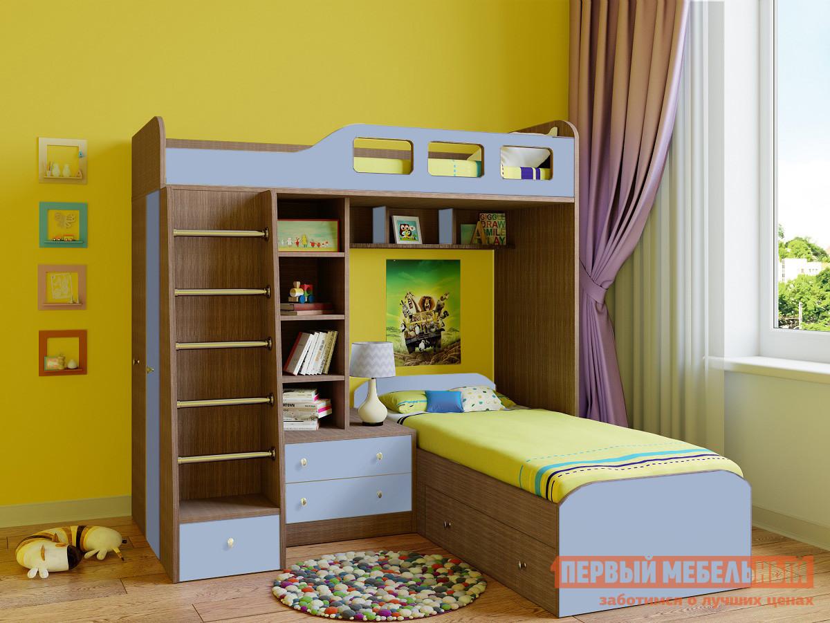 Угловая двухъярусная кровать для детей РВ Мебель Астра-4 Дуб Шамони