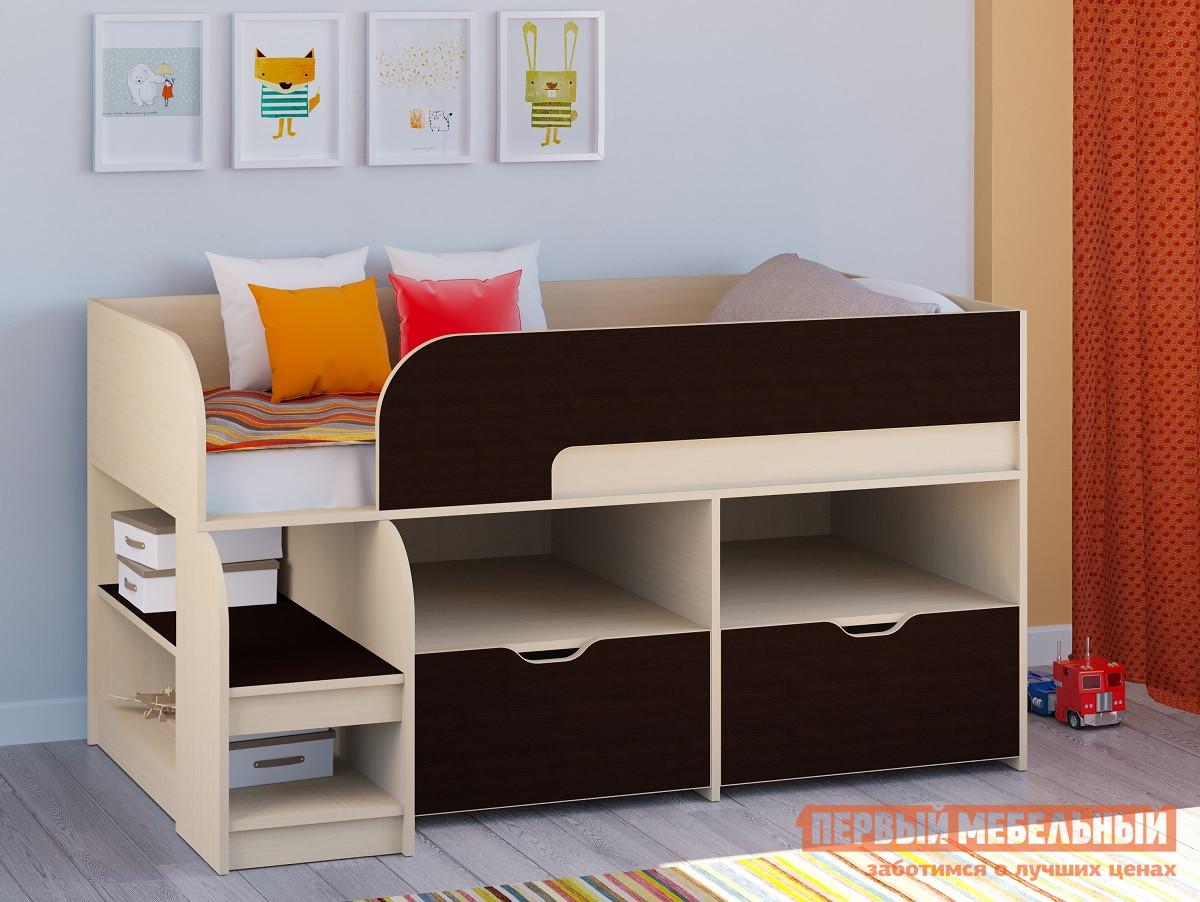 Кровать-чердак невысокая 160х80 РВ Мебель Двухъярусная кровать Астра-9 Дуб молочный V6