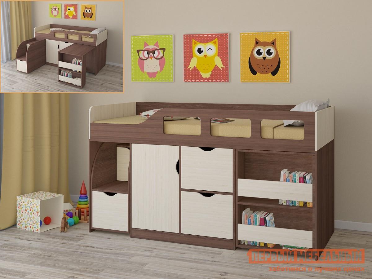 Кровать-чердак РВ Мебель Астра-8 Дуб Шамони Дуб Шамони / Дуб Молочный, Без матрасаКровати-чердаки<br>Габаритные размеры ВхШхГ 1080x1942x846 мм. Компактный и при этом функциональный и продуманный комплекс для малышей.  Идеальный вариант для маленькой детской комнаты, где важен каждый метр свободного пространства.  Все края имеют скругления. В конструкции модуля есть удобная кровать с безопасным бортиком.  Внизу располагается шкаф и два выдвижных ящика.  Для учебных занятий в комплексе предусмотрен выкатной столик с двумя открытыми полочками для книг и письменных принадлежностей. Больше всего малышам понравится выдвижная лесенка, где каждая ступенька оборудована ящичком для игрушек и разных мелочей.  По лестнице можно не только легко взобраться на кроватку, но и использовать элемент во время игр. Основание кровати — настил из ЛДСП. Размер спального места — 800 х 1900 мм. Комплекс универсальный: его можно собрать как на правую, так и на левую сторону. Обратите внимание! Вы можете выбрать удобный вариант покупки кровати: с матрасом или без него.  Ознакомиться с моделью матраса, который входит в комплект кровати вы можете в разделе «Аксессуары». Изделие производится из ЛДСП толщиной 16 мм.  Края обработаны кромкой ПВХ 0,4 и 2 мм.<br><br>Цвет: Темное-cветлое дерево<br>Высота мм: 1080<br>Ширина мм: 1942<br>Глубина мм: 846<br>Кол-во упаковок: 7<br>Форма поставки: В разобранном виде<br>Срок гарантии: 2 года<br>Тип: Трансформер<br>Назначение: Детские<br>Материал: Дерево<br>Материал: ЛДСП<br>Размер: Спальное место 80Х190<br>С ящиками: Да<br>С полками: Да<br>С лестницей-ящиками: Да<br>С рабочей зоной: Да<br>Пол: Для девочек<br>Пол: Для мальчиков