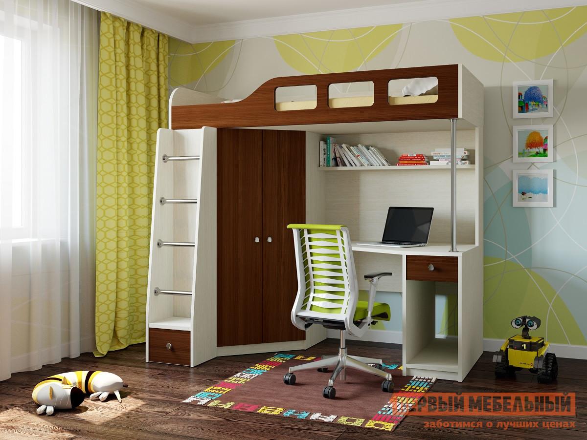 Кровать-чердак для детей от 3 лет РВ Мебель Астра-7 Дуб молочный