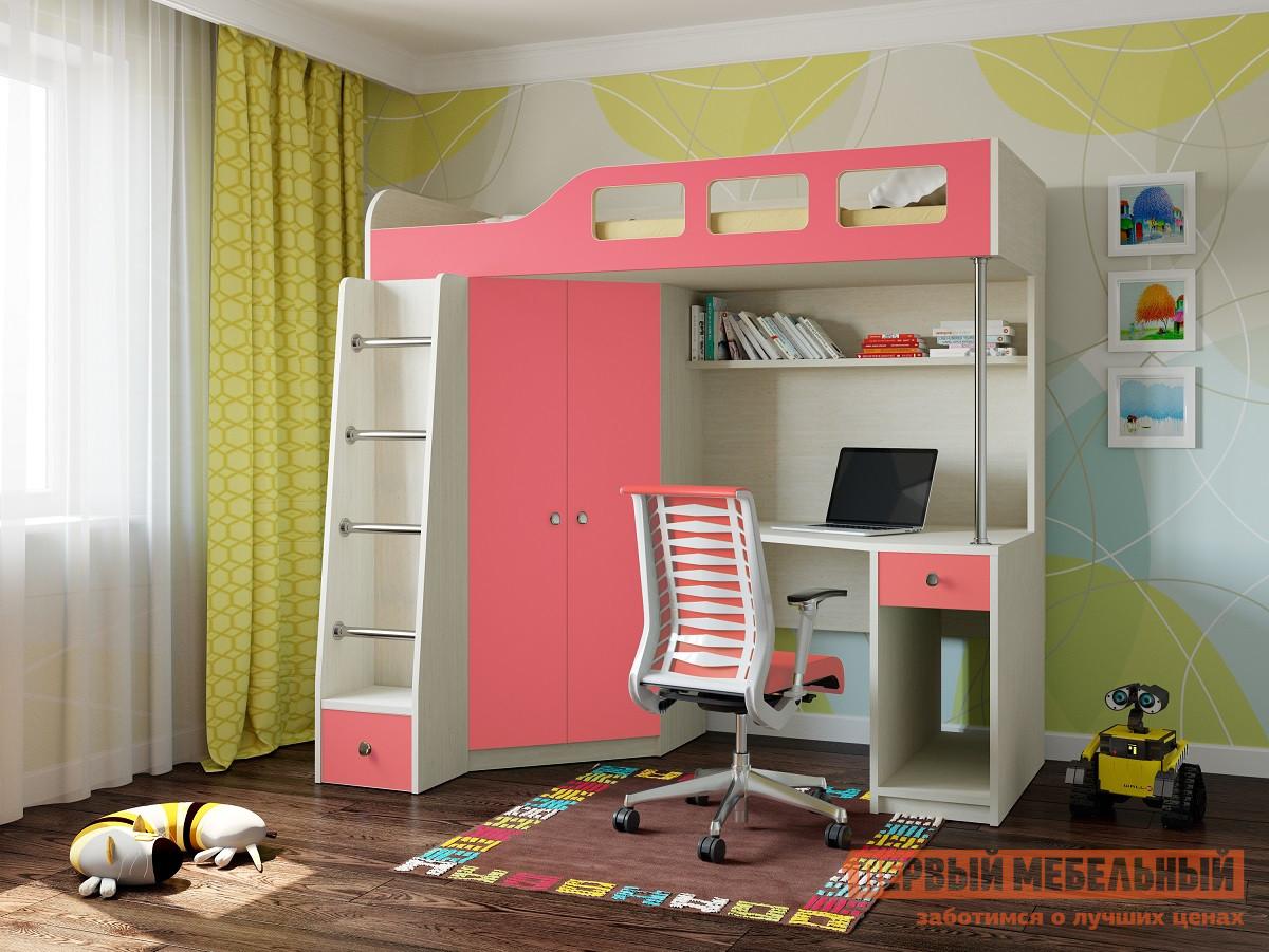 Кровать-чердак РВ Мебель Астра-7 Дуб молочный Дуб Молочный / Розовый, Без матраса