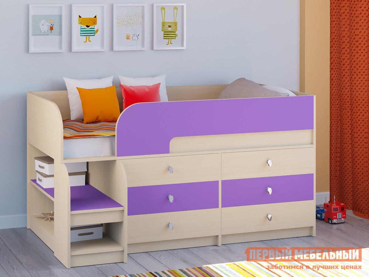 Детская кровать-чердак невысокая РВ Мебель Двухъярусная кровать Астра-9 Дуб молочный В3