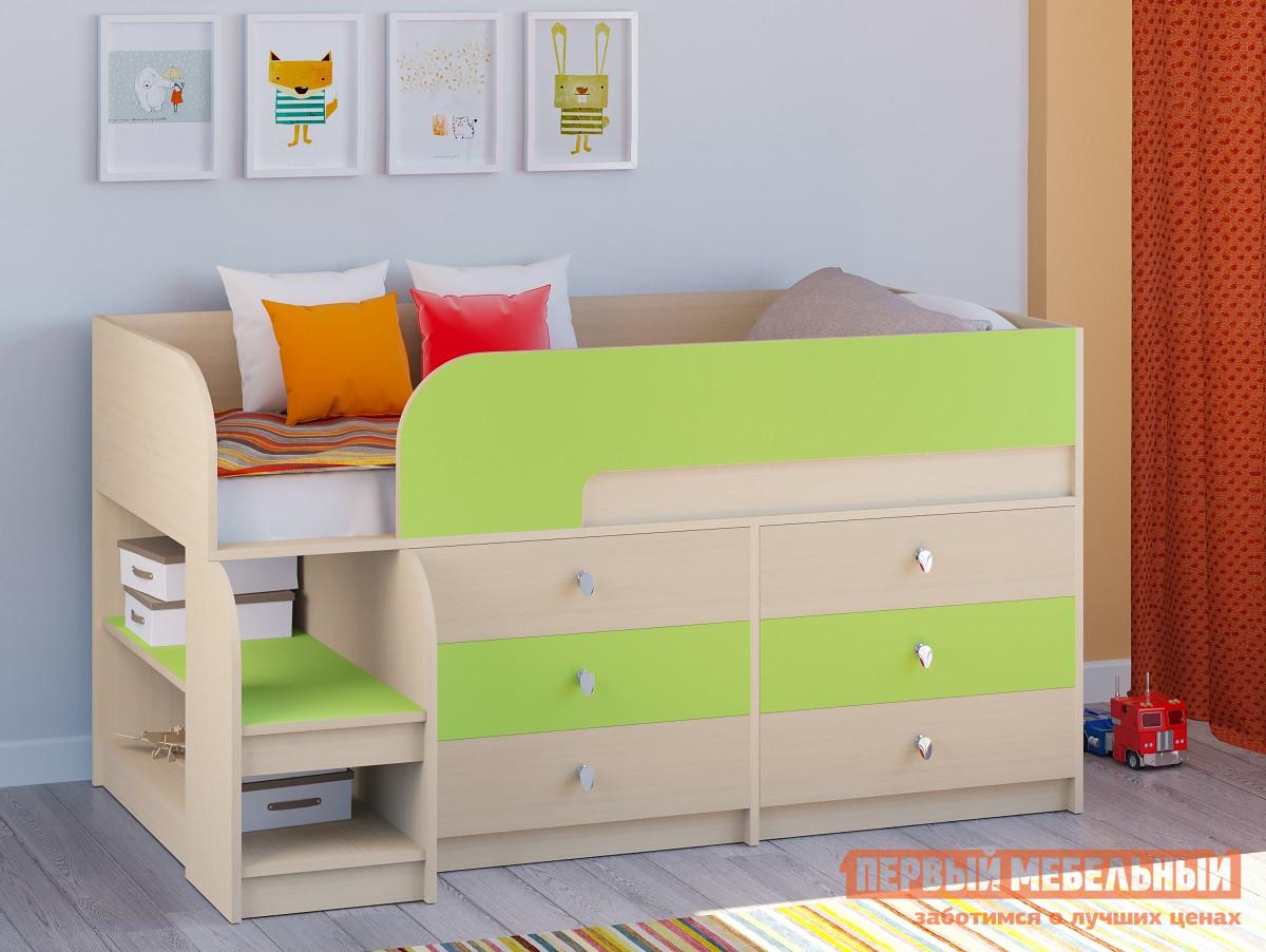 Кровать-чердак  Двухъярусная кровать Астра-9 Дуб молочный V3 Дуб Молочный / Салатовый