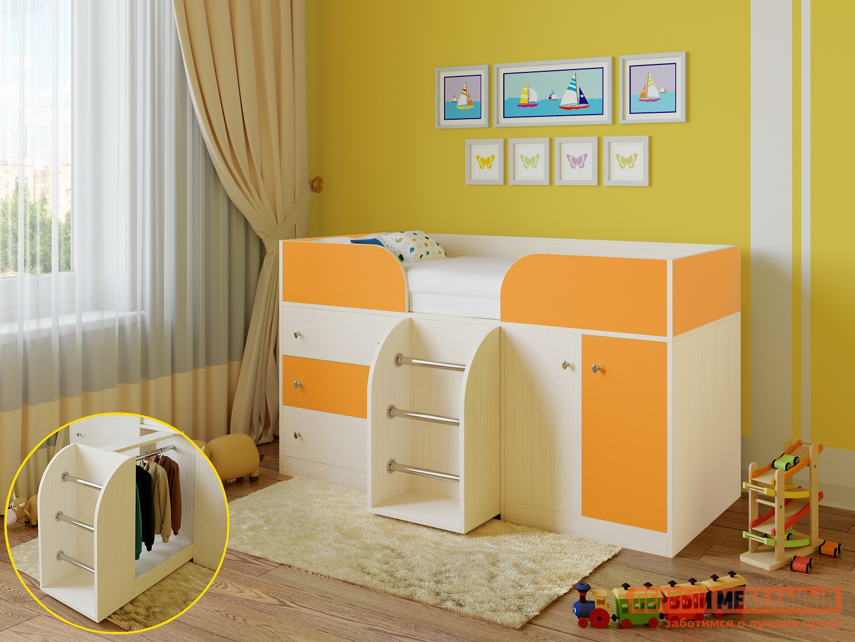 Кровать-чердак для детей от 3 лет РВ Мебель Астра-5 Дуб Молочный цены