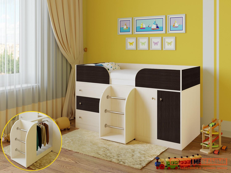 Кровать-чердак РВ Мебель Астра-5 Дуб Молочный Дуб Молочный / Венге, Без матраса РВ Мебель Габаритные размеры ВхШхГ 1085x1932x832 мм. Оригинальная конструкция этой кровати-чердака понравится как малышам, так и их родителям.  Особенность модели — выдвижная по центру лесенка, внутри которой скрывается небольшой шкафчик со штангой, в котором можно не только хранить вещи, но и использовать элемент во время игры. <br> В верхней части располагается удобная кроватка с бортиками, внизу есть комод с тремя ящиками и распашной шкаф с полкой.  Большое количество мест для хранения вещей и игрушек поможет малышу самому научиться наводить порядок. <br> Комплекс имеет компактные размеры и станет идеальным вариантом для небольшой детской комнаты.  Все края имеют безопасные скругления. <br>Основание кровати — настил из ЛДСП. </br>Размер спального места — 800 х 1900 мм. <br>Модуль универсальный: его можно собрать как на правую, так и на левую сторону. <br>Обратите внимание! Вы можете выбрать удобный вариант покупки кровати: с матрасом или без него.  Ознакомиться с моделью матраса, который входит в комплект кровати вы можете в разделе «Аксессуары». <br>Изделие производится из ЛДСП толщиной 16 мм.  Края обработаны кромкой ПВХ 0,4 и 2 мм.  Перекладины на лестницы — металл. <br>