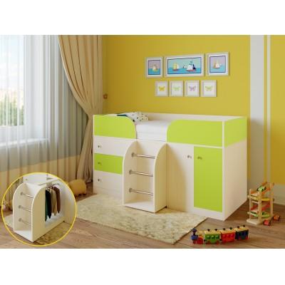 Кровать-чердак РВ Мебель Астра-5 Дуб Молочный Дуб Молочный / Салатовый