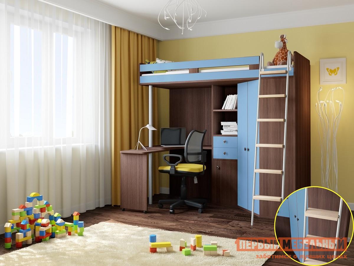 Высокая кровать-чердак со шкафом РВ Мебель М-85 Дуб Шамони рв мебель м 85 дуб шамони салатовый