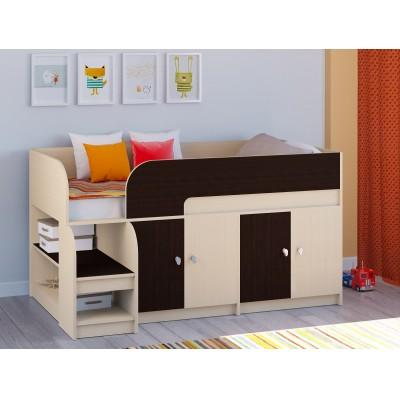 Кровать-чердак РВ Мебель Двухъярусная кровать Астра-9 Дуб молочный V2 Дуб Молочный / Венге
