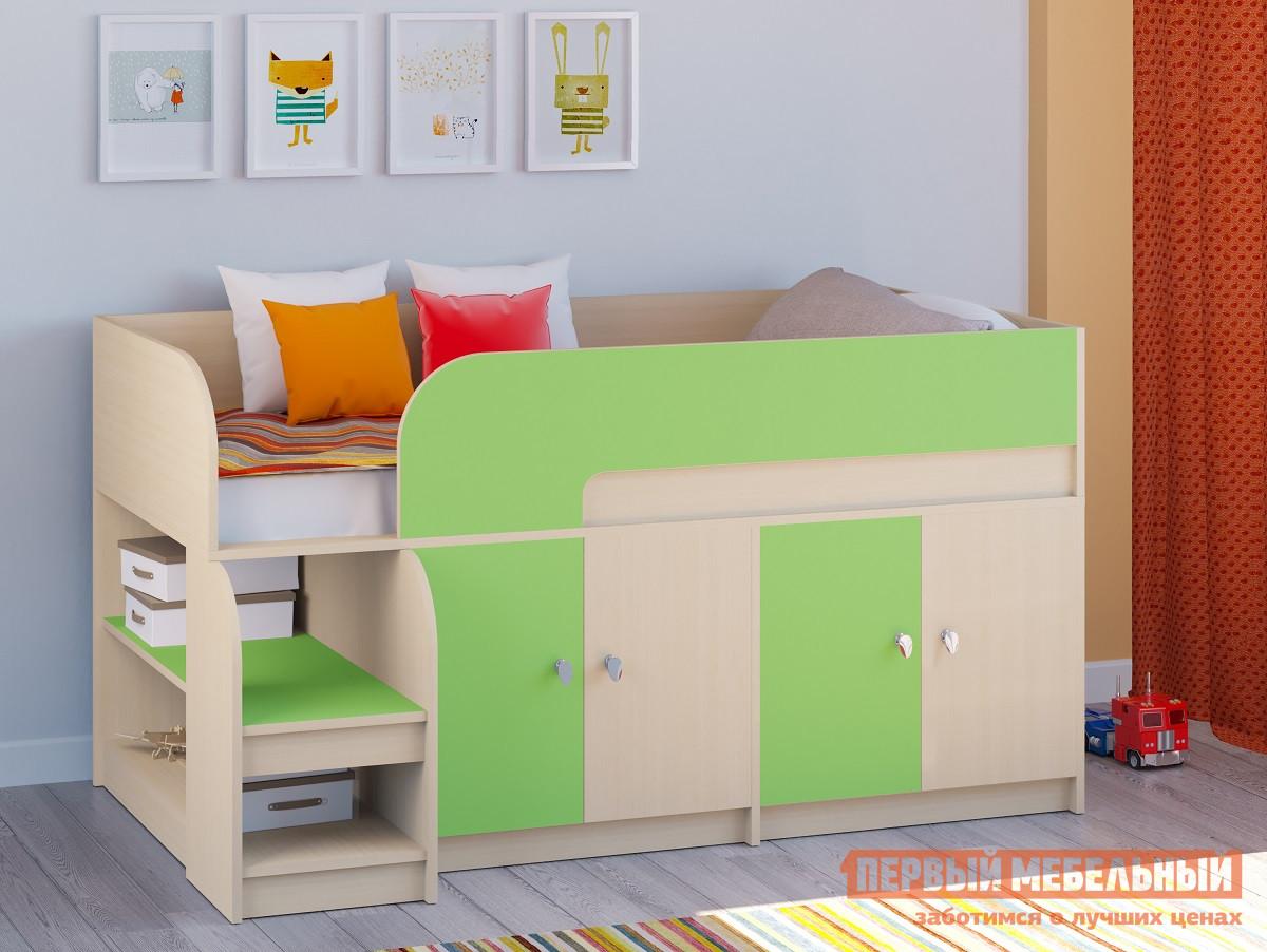 купить Мини кровать-чердак для детей от 5 лет РВ Мебель Двухъярусная кровать Астра-9 Дуб молочный V2 по цене 10166 рублей