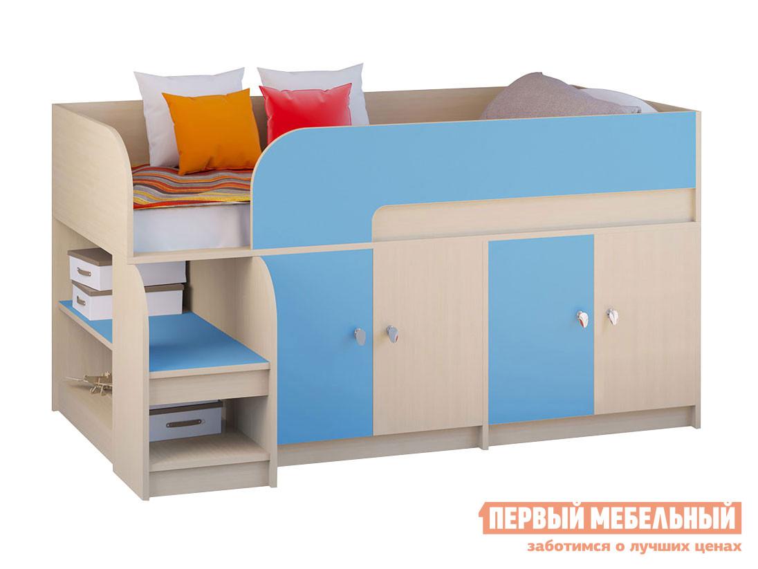 Кровать-чердак  Двухъярусная кровать Астра-9 Дуб молочный V2 Дуб Молочный / Голубой — Двухъярусная кровать Астра-9 Дуб молочный V2 Дуб Молочный / Голубой