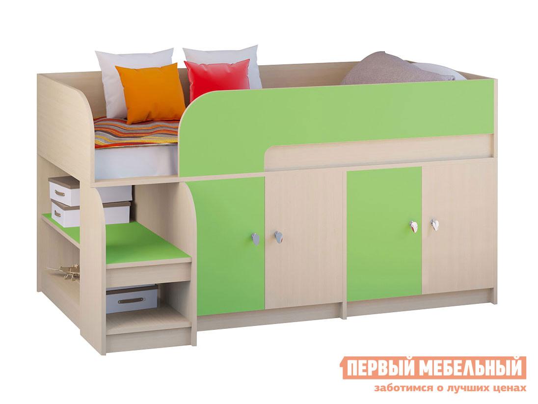 Мини кровать-чердак для детей от 5 лет РВ Мебель Двухъярусная кровать Астра-9 Дуб молочный V2
