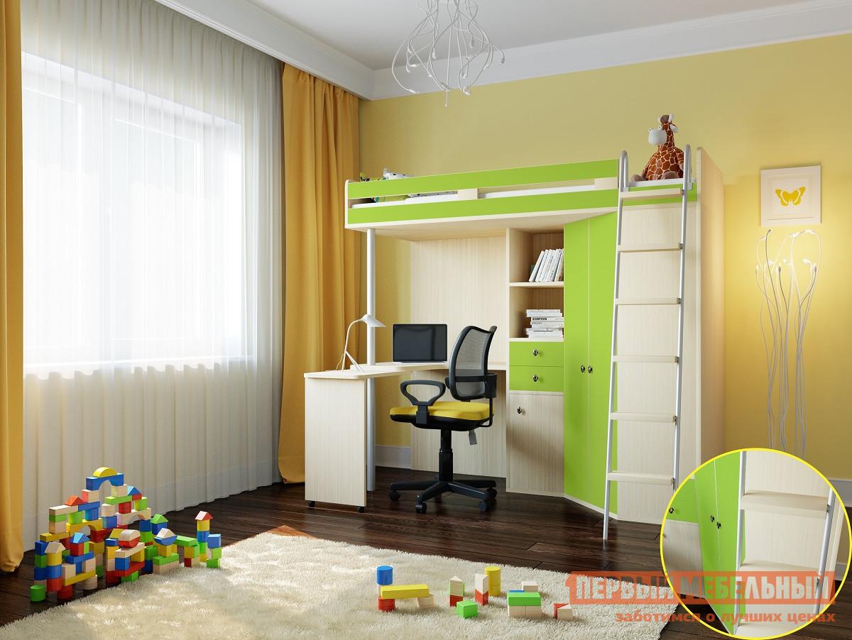 Высокая кровать-чердак со шкафом внизу РВ Мебель М-85 Дуб Молочный рв мебель м 85 дуб шамони салатовый