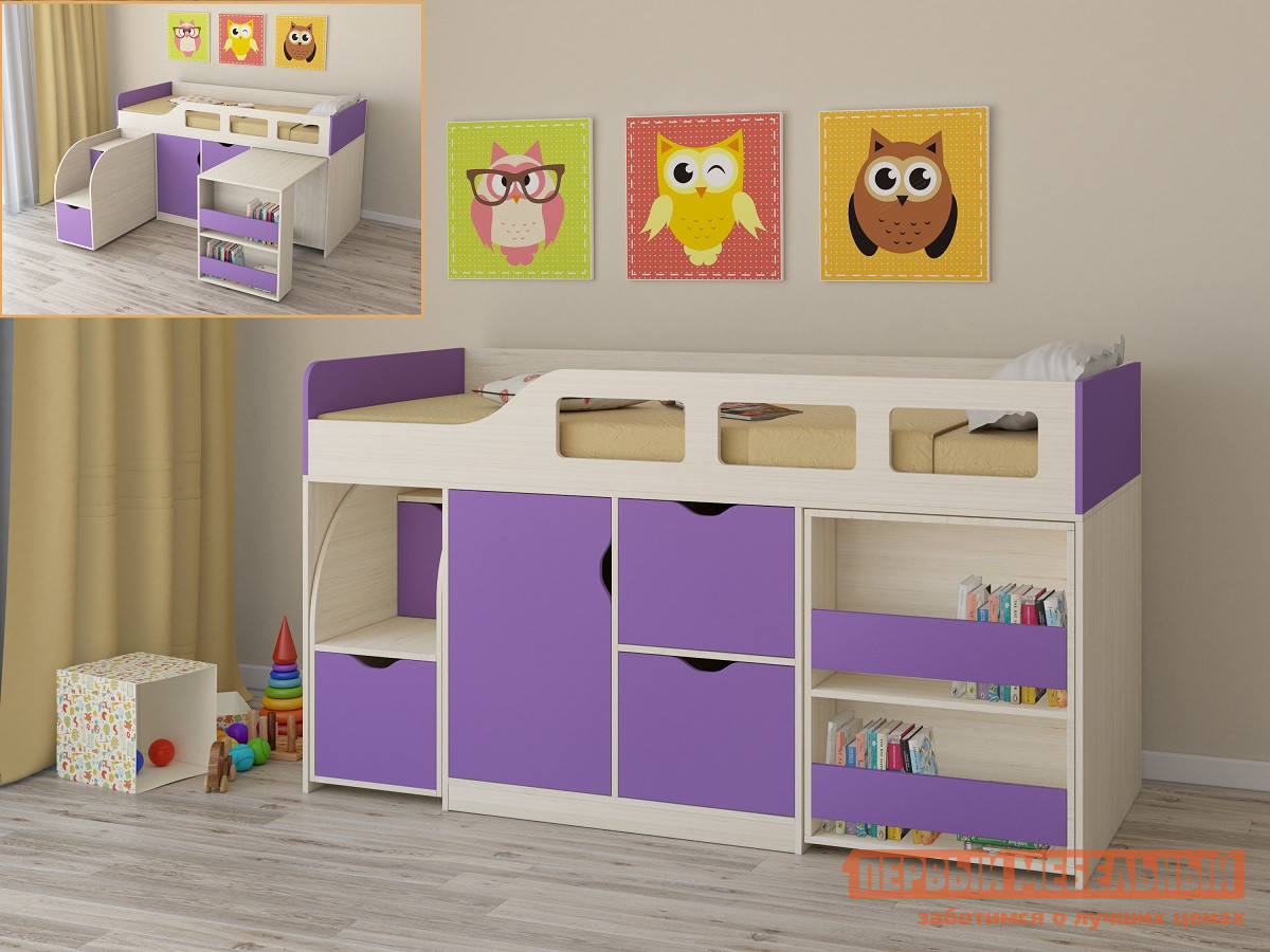 купить Кровать-чердак для детей от 3 лет РВ Мебель Астра-8 Дуб Молочный по цене 13175 рублей