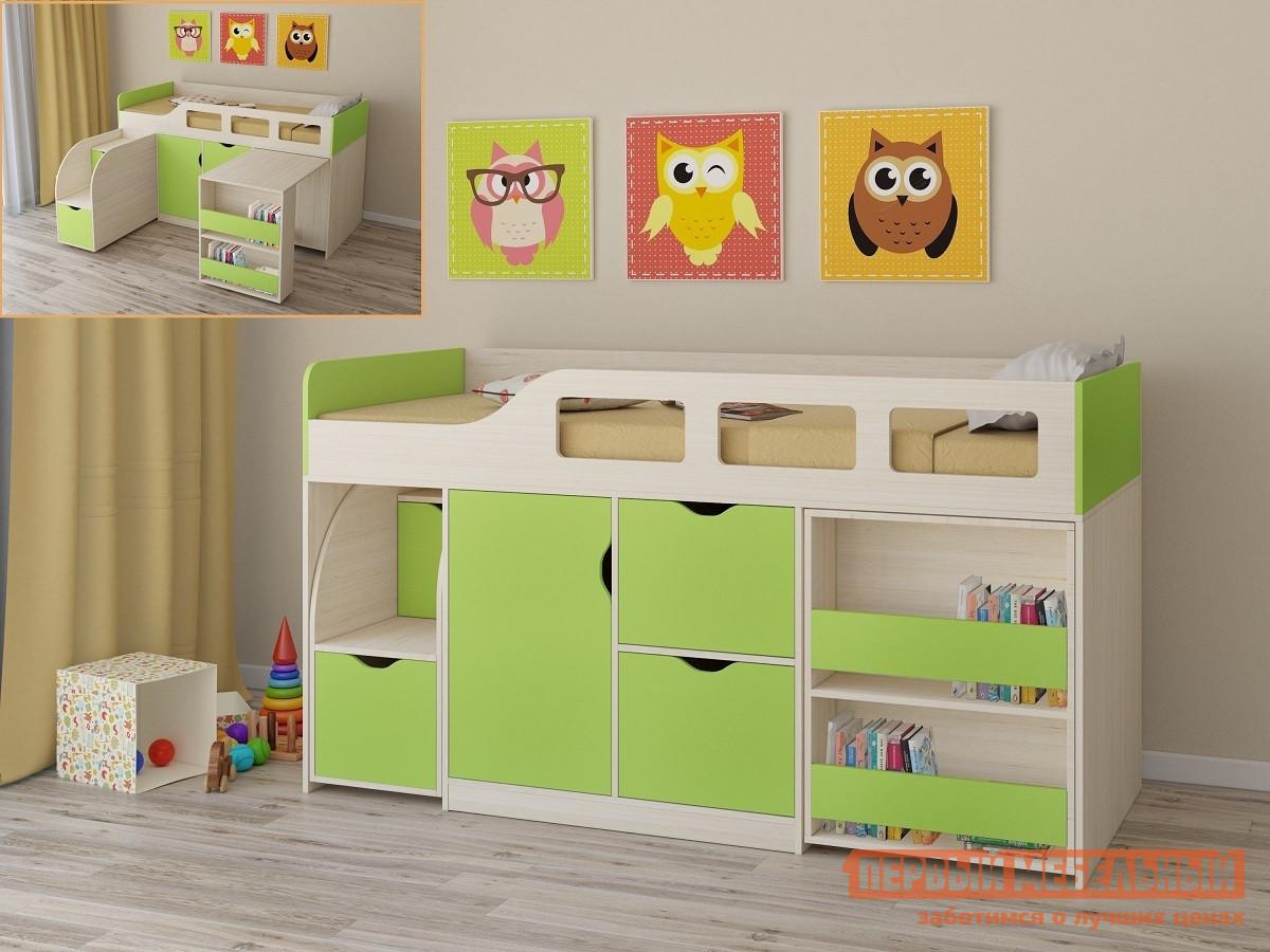 Детская двухъярусная кровать РВ Мебель Астра-8 Дуб Молочный Дуб Молочный / Салатовый от Купистол