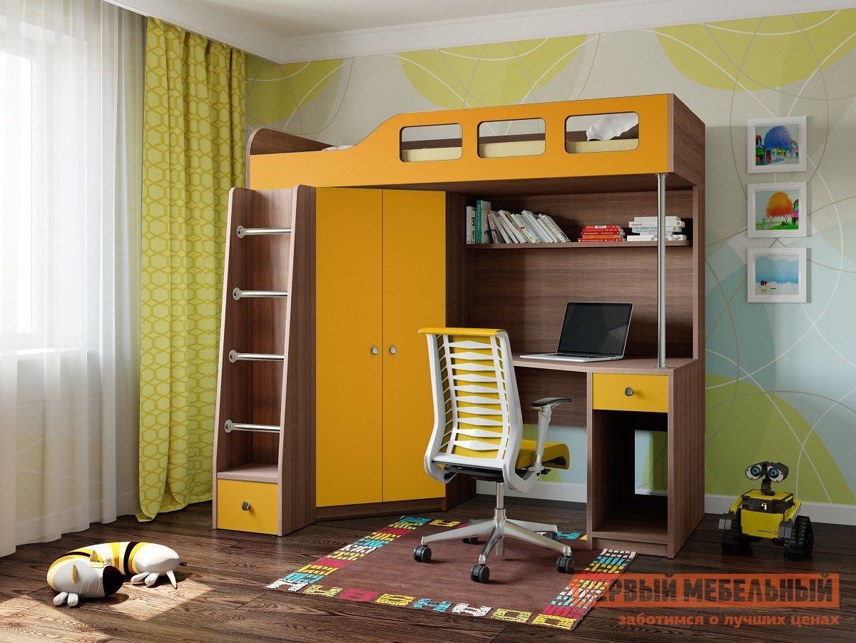 Кровать-чердак для детей от 3 лет РВ Мебель Астра-7 Дуб Шамони