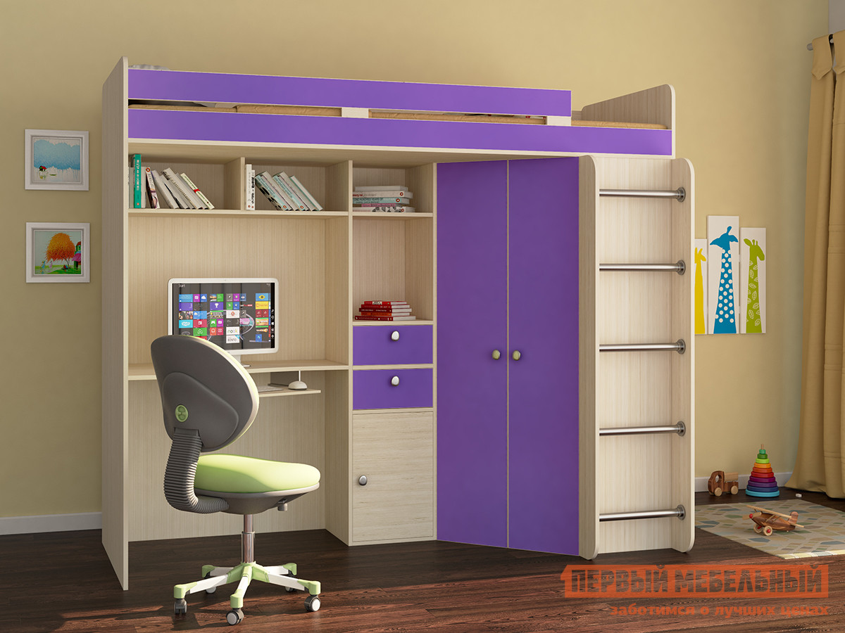 Кровать-чердак для детей от 3 лет РВ Мебель Астра-1 кровать чердак рв мебель астра 4 дуб молочный