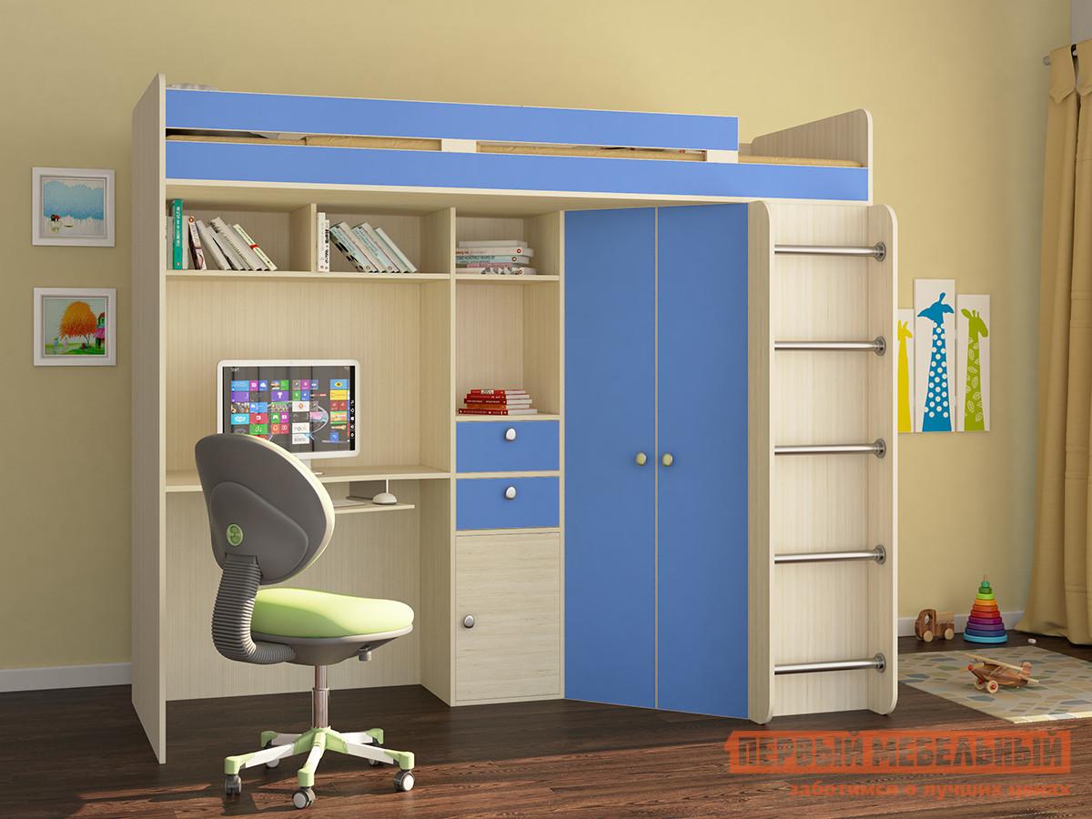 Кровать-чердак РВ Мебель Астра-1 Дуб Молочный / Голубой