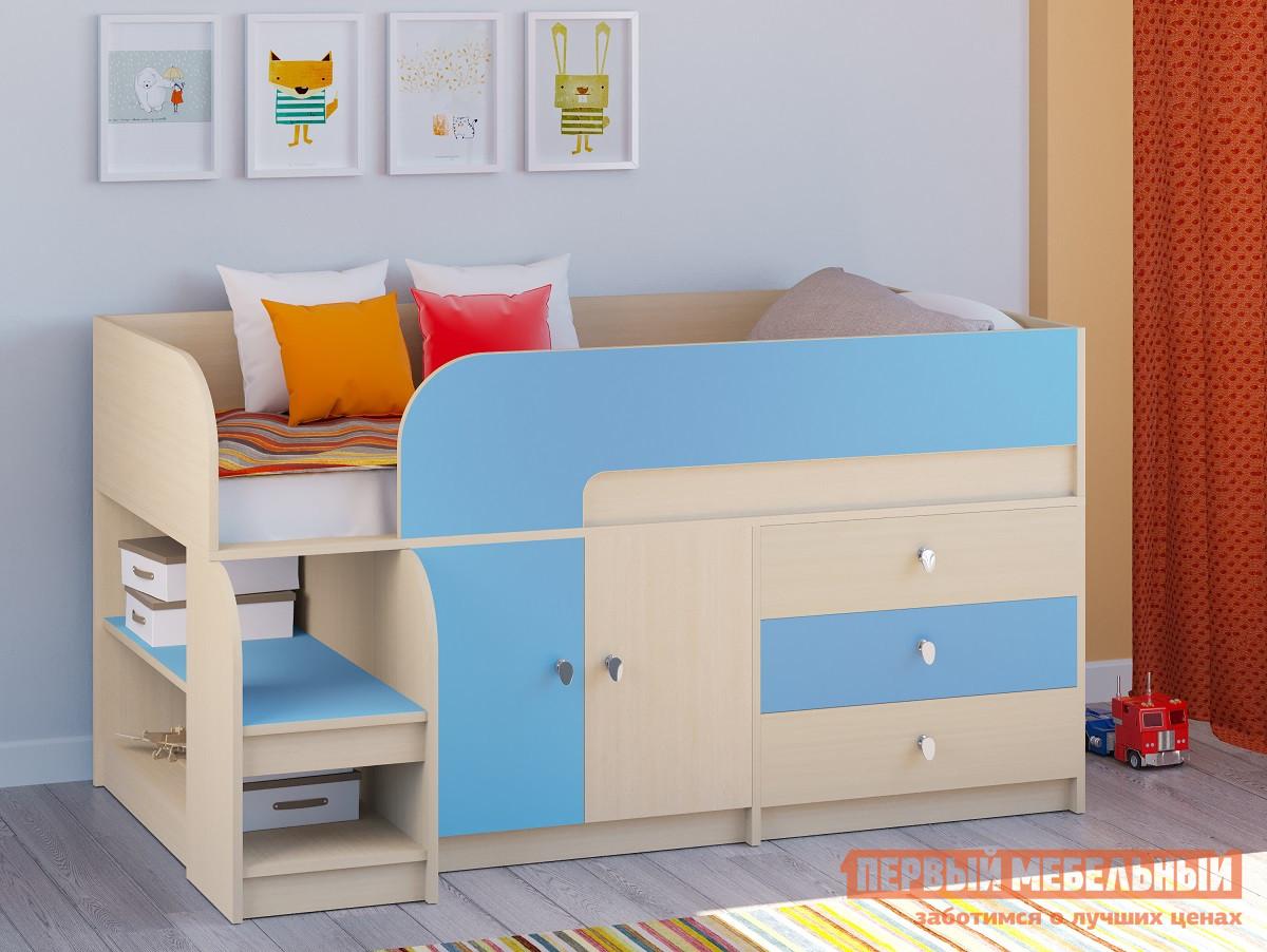 Кровать-чердак для маленьких комнат РВ Мебель Двухъярусная кровать Астра-9 Дуб молочный V1