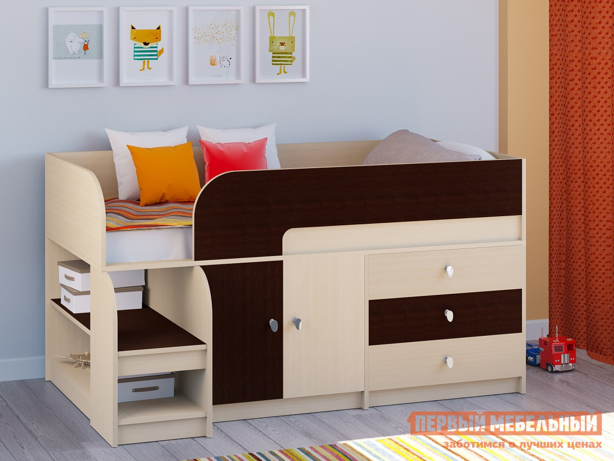 Кровать-чердак РВ Мебель Двухъярусная кровать Астра-9 Дуб молочный В1 Дуб Молочный / Венге, С матрасом