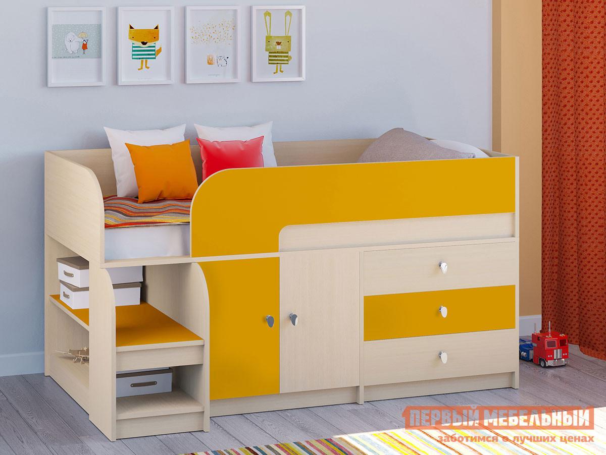 Кровать-чердак Двухъярусная кровать Астра-9 Дуб молочный V1 Дуб Молочный / Оранжевый фото