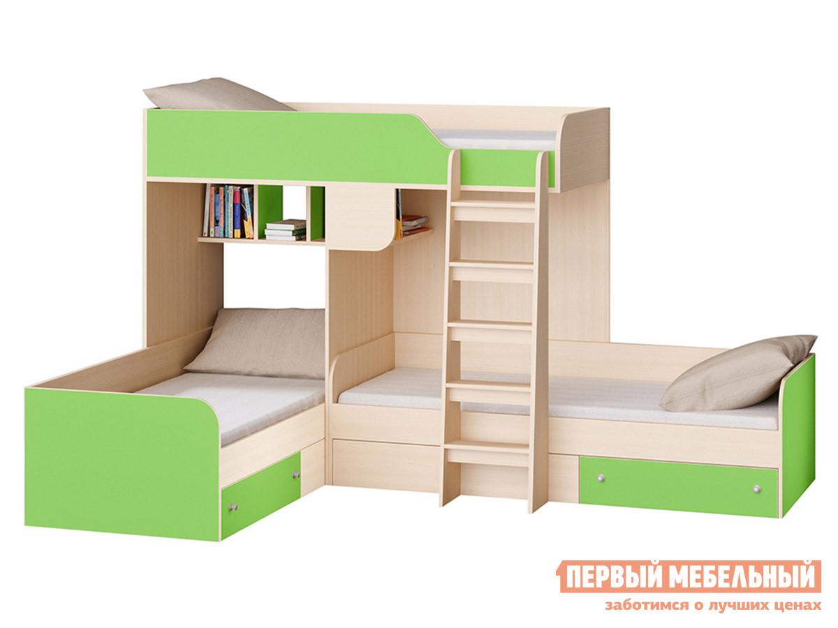 Кровать  TRIO-1 Дуб Молочный / Салатовый РВ Мебель 104598