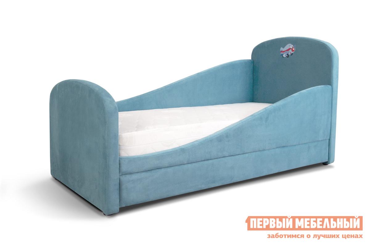 Фото Детская кровать Мирлачев Тедди 1600*700 С матрасом, Левый, Банни 05 / Самолетик. Купить с доставкой