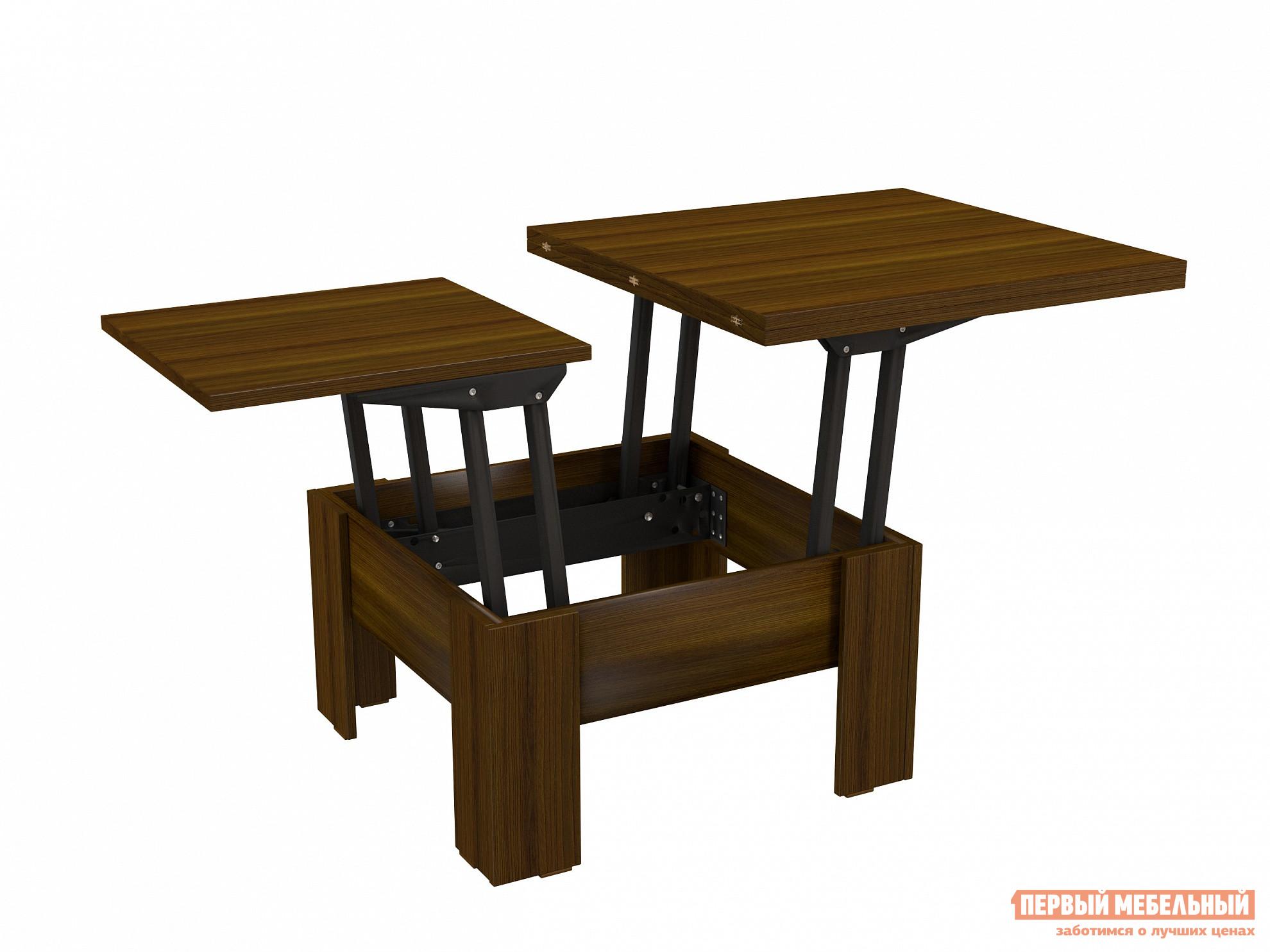 Журнальный столик ВасКо СТ 80-06 Орех ВаленсияЖурнальные столики<br>Габаритные размеры ВхШхГ 490 / 754x776 / 1552x750 мм. Стильный журнальный столик-трансформер небольшого размера.  Такая модель украсит любую гостиную.  Благодаря специальному механизму внутри корпуса, изделие трансформируется в полноценный обеденный стол, за которым может комфортно разместиться шесть человек. Изделие выполнено из ЛДСП высокого качества. Максимально допустимая нагрузка составляет 80 кг.<br><br>Цвет: Коричневое дерево<br>Высота мм: 490 / 754<br>Ширина мм: 776 / 1552<br>Глубина мм: 750<br>Кол-во упаковок: 2<br>Форма поставки: В разобранном виде<br>Срок гарантии: 24 месяца<br>Тип: Трансформер<br>Назначение: Для гостиной<br>Материал: ЛДСП<br>Форма: Прямоугольные<br>Размер: Маленькие<br>Размер: Большие<br>Высота: Низкие<br>Стиль: Современный