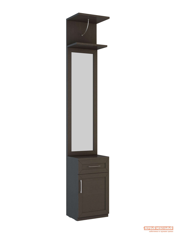 Прихожая ВасКо СОЛО-059 ВенгеПрихожие в коридор<br>Габаритные размеры ВхШхГ 2306x399x321 мм. Небольшая функциональная прихожая.  Модель имеет компактные размеры и поместится даже в самой маленьком коридоре.  Разнообразие цветовой палитры позволит дополнить таким модулем практически любой интерьер. Прихожая сочетает в себе панель с зеркалом, которая позволит зрительно увеличить пространство, а также небольшую тумбу с выдвижным ящиком и шкафчиком, в которых можно хранить перчатки, ключи, аксессуары и прочие мелочи. В верхней части модуля есть полочка для головных уборов. Обратите внимание! При сборке модуля его необходимо крепить к стене.  Фурнитура для крепления к стене в комплект не входит. Изделие изготавливается из высококачественного ЛДСП.<br><br>Цвет: Венге<br>Цвет: Венге<br>Высота мм: 2306<br>Ширина мм: 399<br>Глубина мм: 321<br>Кол-во упаковок: 4<br>Форма поставки: В разобранном виде<br>Срок гарантии: 24 месяца<br>Тип: Прямые<br>Характеристика: Немодульные<br>Материал: из ЛДСП<br>Размер: Маленькие, Узкие, Глубиной до 35 см, Глубиной до 40 см<br>Особенности: С зеркалом, С обувницей, Без шкафа<br>Стиль: Современный