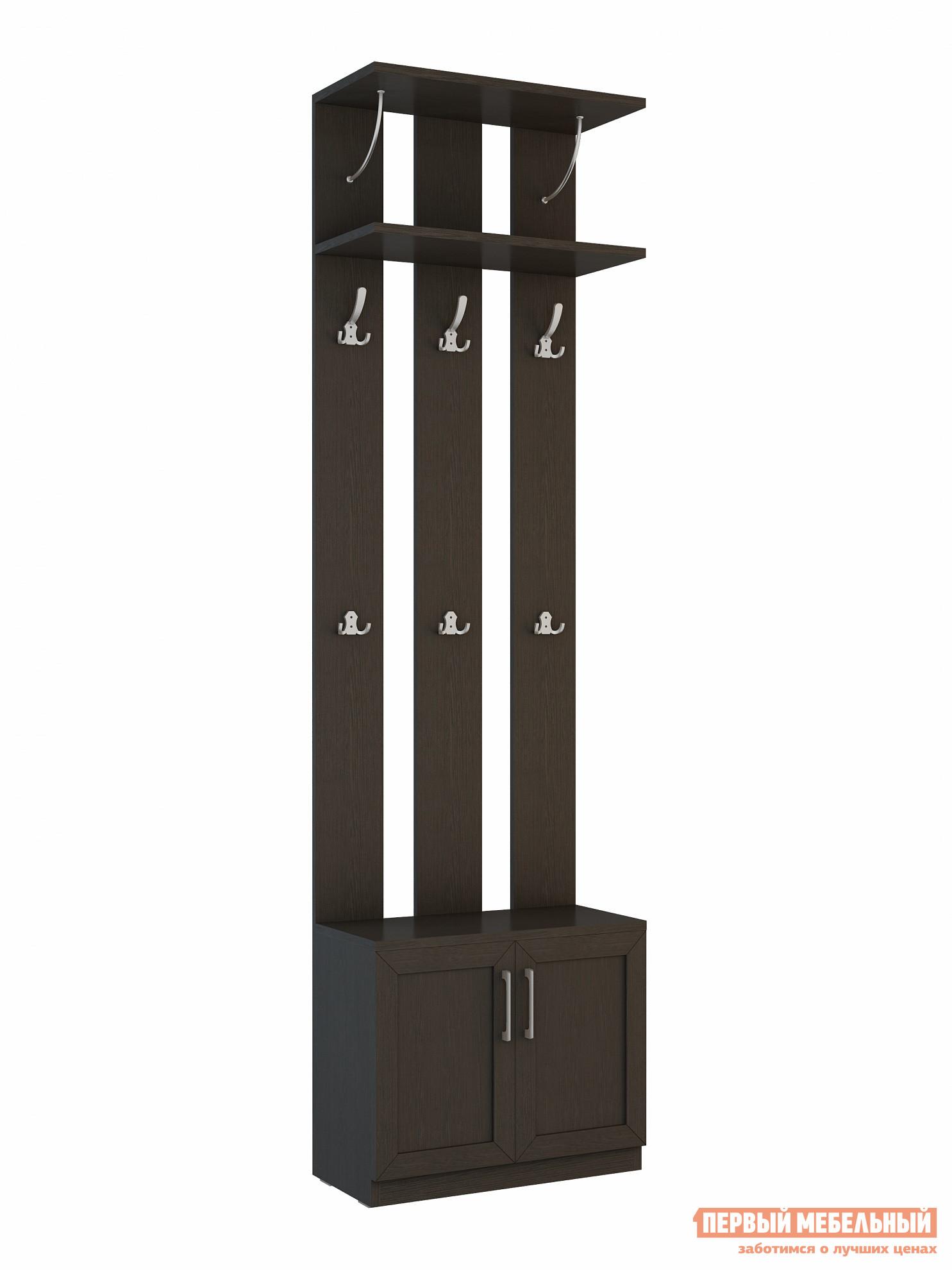 Прихожая ВасКо СОЛО-060 ВенгеПрихожие в коридор<br>Габаритные размеры ВхШхГ 2306x642x321 мм. Классический модуль для прихожей с открытой вешалкой.  Модель имеет компактные размеры, что позволит разместить ее практически в любом коридоре. В основании модуля есть тумба с полками для хранения обуви, зонтов, сумок и прочих вещей. В верхней части прихожей располагается полочка для головных уборов. Модель оснащена большими и малыми крючками. Обратите внимание! При сборке модуля его необходимо крепить к стене.  Фурнитура для крепления к стене в комплект не входит. Изделие изготавливается из ЛДСП.<br><br>Цвет: Венге<br>Цвет: Венге<br>Высота мм: 2306<br>Ширина мм: 642<br>Глубина мм: 321<br>Кол-во упаковок: 3<br>Форма поставки: В разобранном виде<br>Срок гарантии: 24 месяца<br>Тип: Прямые<br>Характеристика: Немодульные<br>Материал: из ЛДСП<br>Размер: Маленькие, Узкие, Глубиной до 35 см, Глубиной до 40 см<br>Особенности: С сиденьем, С открытой вешалкой, С обувницей, Без шкафа<br>Стиль: Современный