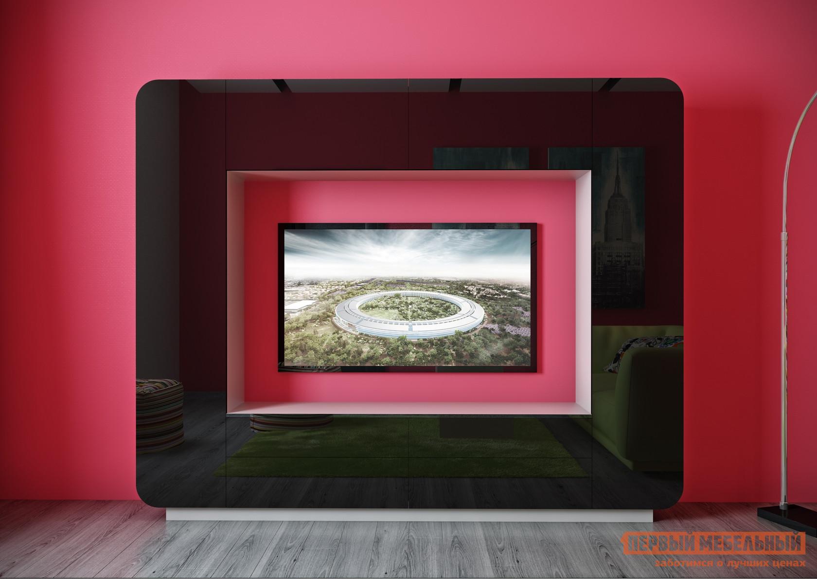 Гостиная ВасКо Купертино 301 Белый глянец / Черный глянецСтенки для гостиной<br>Габаритные размеры ВхШхГ 1950x2400x410 мм. Ультрасовременная компактная стенка отлично впишется в современный лаконичный дизайн комнаты.  Не смотря на небольшие размеры модели, гостиная многофункциональна. За широкой рамкой вокруг ниши скрываются шкафчики с полками, в основании есть выдвижные ящики, сверху — закрытые шкафы. Размер ниши под телевизор — 1600 х 1066 мм. Корпус стенки изготавливается из ЛДСП.  Основу фасадов составляют плиты ламинированного МДФ немецкого производства.  Фасадная часть покрыта полиэфирной пленкой, которая стабилизируется ультрафиолетовым  излучением.  Такое покрытие обладает большой износостойкостью и высокой степенью глянца — более 85 Gloss.<br><br>Цвет: Белый глянец / Черный глянец<br>Цвет: Черный<br>Цвет: Черно-белый<br>Высота мм: 1950<br>Ширина мм: 2400<br>Глубина мм: 410<br>Кол-во упаковок: 5<br>Форма поставки: В разобранном виде<br>Срок гарантии: 24 месяца<br>Характеристика: Немодульные<br>Материал: Деревянные, из ЛДСП, из МДФ<br>Размер: Маленькие<br>Особенности: Со шкафом, Глянцевые, С местом под ТВ<br>Стиль: Современный, Хай-тек