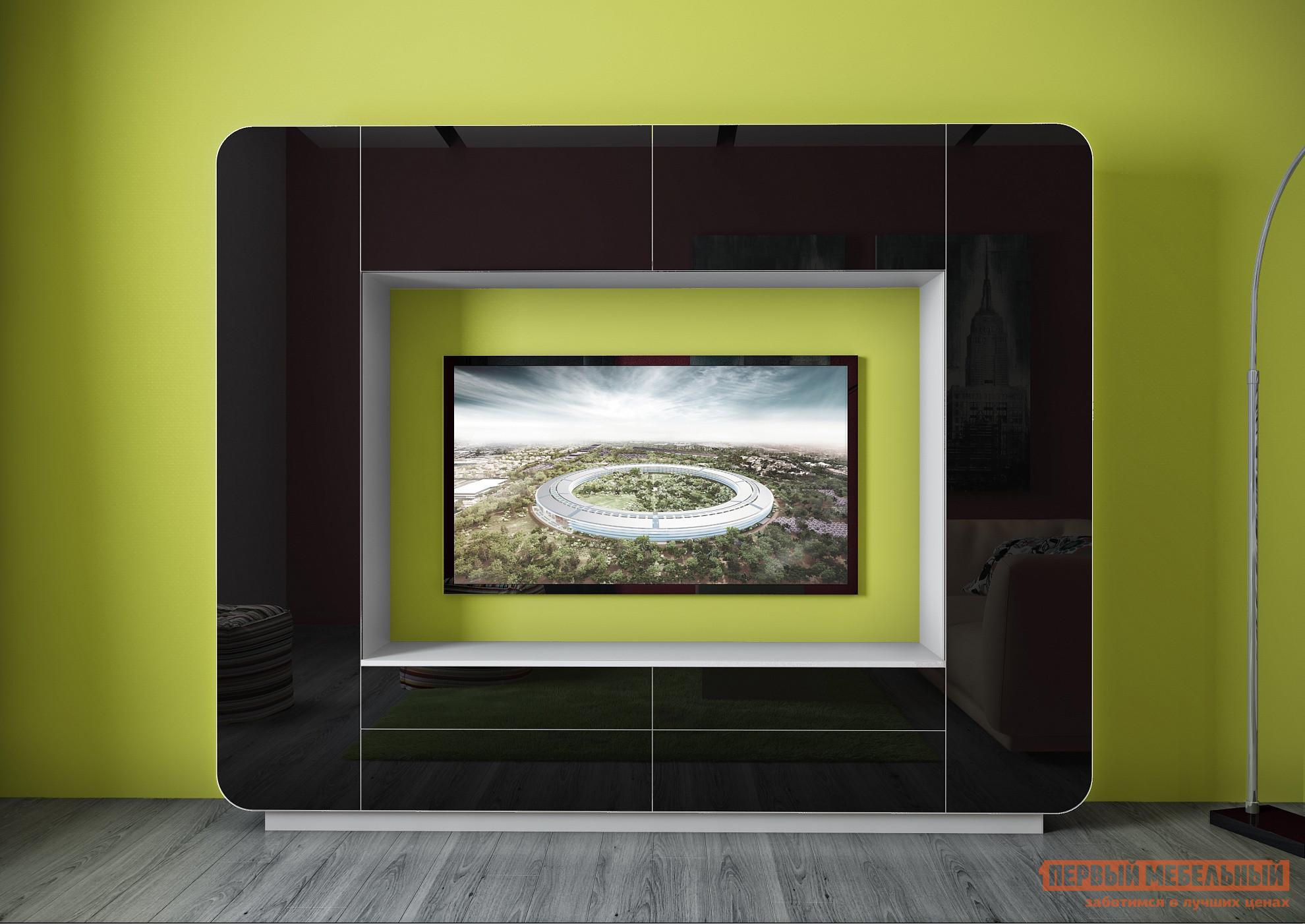 Гостиная ВасКо Купертино 301 Белый глянец / Черный глянец / Белая кромкаСтенки для гостиной<br>Габаритные размеры ВхШхГ 1950x2400x410 мм. Ультрасовременная компактная стенка отлично впишется в современный лаконичный дизайн комнаты.  Не смотря на небольшие размеры модели, гостиная многофункциональна. За широкой рамкой вокруг ниши скрываются шкафчики с полками, в основании есть выдвижные ящики, сверху — закрытые шкафы. Система отрывания — «push to open».  Дверцы шкафчиков открываются путём нажатия на нихРазмер ниши под телевизор — 1600 х 1066 мм. Корпус стенки изготавливается из ЛДСП.  Основу фасадов составляют плиты ламинированного МДФ немецкого производства.  Фасадная часть покрыта полиэфирной пленкой, которая стабилизируется ультрафиолетовым  излучением.  Такое покрытие обладает большой износостойкостью и высокой степенью глянца — более 85 Gloss.<br><br>Цвет: Белый глянец / Черный глянец / Белая кромка<br>Цвет: Черный<br>Цвет: Черно-белый<br>Высота мм: 1950<br>Ширина мм: 2400<br>Глубина мм: 410<br>Кол-во упаковок: 5<br>Форма поставки: В разобранном виде<br>Срок гарантии: 24 месяца<br>Характеристика: Немодульные<br>Материал: Деревянные, из ЛДСП, из МДФ<br>Размер: Маленькие<br>Особенности: Со шкафом, Глянцевые, С местом под ТВ<br>Стиль: Современный, Хай-тек