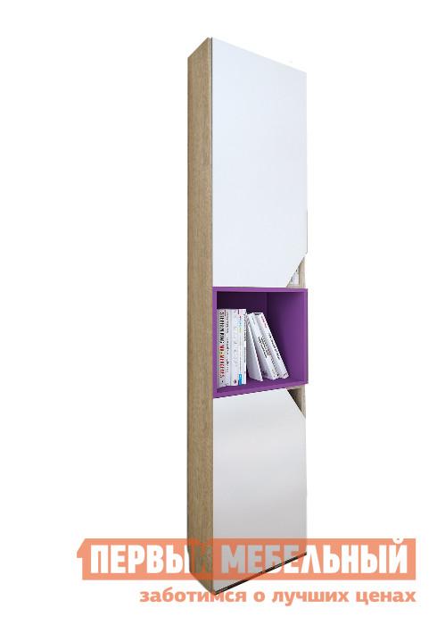 Стеллаж ВасКо Аванти 709 Дуб Сонома / Белый / ФиолетовыйСтеллажи<br>Габаритные размеры ВхШхГ 2080x400x350 мм. Стильный закрытый стеллаж с открытой полкой по центру прекрасно подойдет для современного интерьера.  Дверцы снабжены необычными ручками, которые подчеркивают интересный дизайн этого предмета мебели. Изделие выполнено из высококачественной ЛДСП класса Е1 российского производства.  Этот материал  обеспечит  прочность конструкции, долговечность и безопасность в использовании. Обратите внимание! Модель необходимо крепить к стене.  Необходимая фурнитура поставляется в комплекте. Модель универсальна по сборке.<br><br>Цвет: Дуб Сонома / Белый / Фиолетовый<br>Цвет: Белый<br>Цвет: Фиолетовый<br>Цвет: Светлое дерево<br>Высота мм: 2080<br>Ширина мм: 400<br>Глубина мм: 350<br>Кол-во упаковок: 3<br>Форма поставки: В разобранном виде<br>Срок гарантии: 24 месяца<br>Назначение: Для дома<br>Размер: Узкие