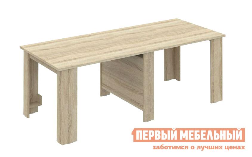 Кухонный стол ВасКо СТ 80-12 М1 Дуб СономаКухонные столы<br>Габаритные размеры ВхШхГ 750x550 / 2150x900 мм. Современный стол-трансформер поражает своими способностями: из ширины всего в 55 сантиметров он раздвигается более чем до 2-х метров. Стол имеет четыре дополнительные секции из плит толщиной 22 мм, которые совершенно незаметно хранятся внутри изделия.  Вы можете разложить модель на длину одной секции — до 135 см или же полностью, на общую длину 215 см. Конструкция механизма надежная и плавная в использовании. Стол выполнен из ЛДСП высокого качества. Посмотрите, как он легко и быстро раскладывается!<br><br>Цвет: Дуб Сонома<br>Цвет: Светлое дерево<br>Высота мм: 750<br>Ширина мм: 550 / 2150<br>Глубина мм: 900<br>Кол-во упаковок: 3<br>Форма поставки: В разобранном виде<br>Срок гарантии: 24 месяца<br>Тип: Раздвижные, Трансформер<br>Материал: Деревянные, из ЛДСП<br>Форма: Прямоугольные<br>Размер: Большие