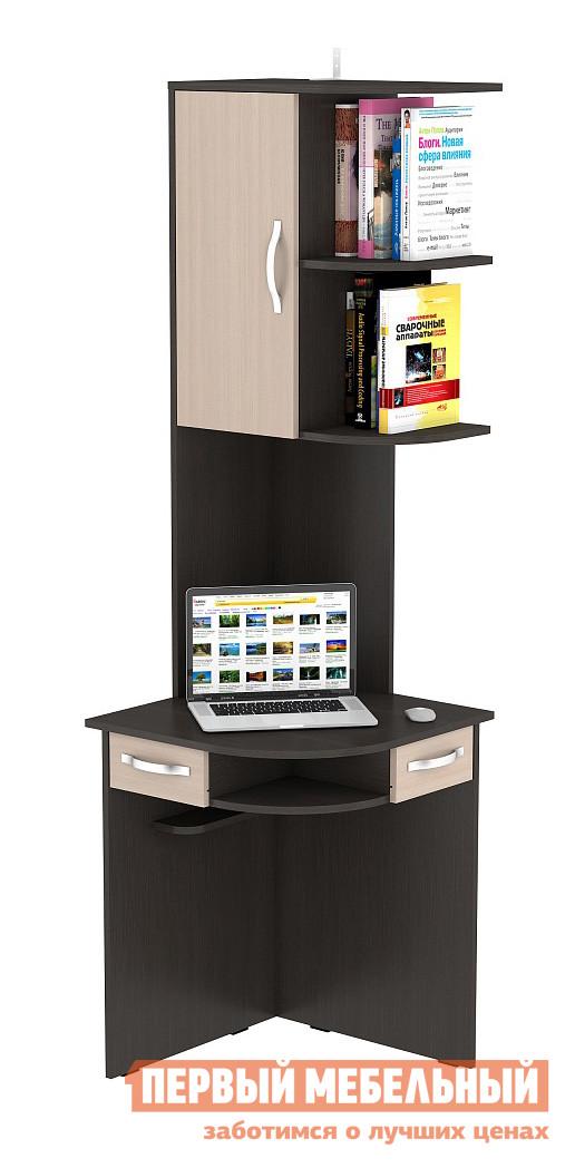 Столик для ноутбука ВасКо КС 20-44 Корпус венге / Фасад молочный дубСтолики для ноутбука<br>Габаритные размеры ВхШхГ 2060x600x600 мм. Компактный стол для ноутбука поможет организовать рабочее место даже в самой маленькой комнате.  При своих небольших размерах стол многофункционален и сочетает в себе округлую столешницу, нишу и два выдвижных ящика.  Высокая надстройка имеет полки и закрытый шкафчик. В основании столешницы есть отверстие для проводов. Стол универсален по сборке, надстройка может быть собрана в любую сторону. Ящики под столешницей имеют два размера: один длиннее, второй короче, их можно установить в наиболее удобном порядке. Расстояние от пола до столешницы составляет 750 мм. Стол полностью изготавливается из ЛДСП высокого качества.<br><br>Цвет: Темное-cветлое дерево<br>Высота мм: 2060<br>Ширина мм: 600<br>Глубина мм: 600<br>Кол-во упаковок: 2<br>Форма поставки: В разобранном виде<br>Срок гарантии: 24 месяца<br>Тип: Угловые<br>Материал: Дерево<br>Размер: Маленькие<br>С надстройкой: Да