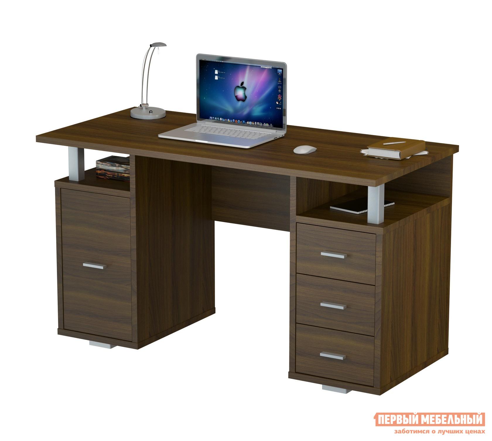 Письменный стол ВасКо ПС 40-07 Орех Валенсия ВасКо Габаритные размеры ВхШхГ 750x1300x600 мм. Письменный стол. <br>Стол изготовлен из высококачественной ламинированной ДСП толщиной 22 мм, торцевые поверхности облицованы высокопрочной кромкой ПВХ.  <br>За счет специальной конструкции, изделие позволяет производить сборку в зеркальном исполнении.  <br>Стол оснащен вместительной тумбой  и тремя выдвижными ящиками для хранения различных канцелярских принадлежностей.  Также имеется две полки, куда при желании можно поместить необходимые документы или книги. <br>Данная модель удачным образом совместила в себе стильный дизайн и функциональность, благодаря чему она идеально подойдет для работы как в офисе, так и дома.