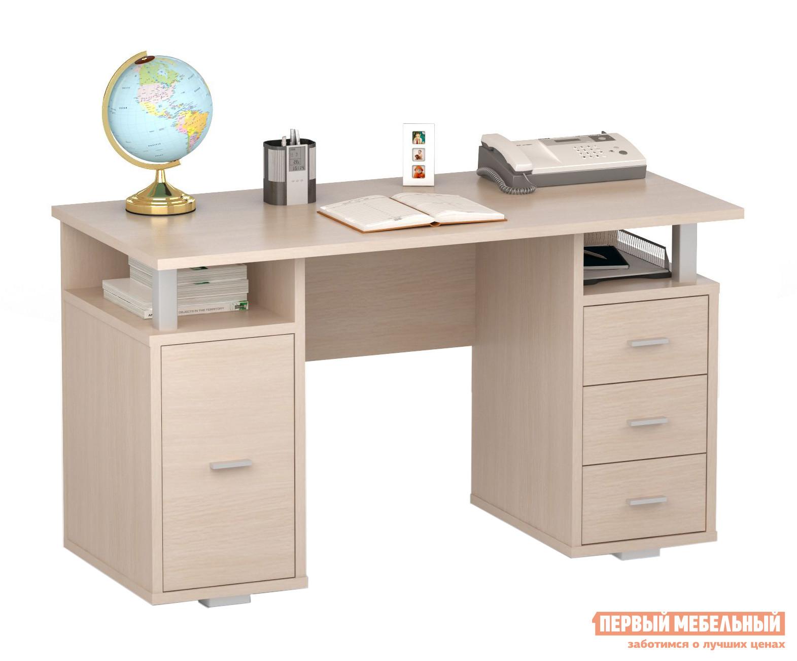 Компьютерный стол ВасКо ПС 40-07 Молочный дубКомпьютерные столы<br>Габаритные размеры ВхШхГ 750x1300x600 мм. Письменный стол. Стол изготовлен из высококачественной ламинированной ДСП толщиной 22 мм, торцевые поверхности облицованы высокопрочной кромкой ПВХ.  За счет специальной конструкции, изделие позволяет производить сборку в зеркальном исполнении.  Стол оснащен вместительной тумбой  и тремя выдвижными ящиками для хранения различных канцелярских принадлежностей.  Также имеется две полки, куда при желании можно поместить необходимые документы или книги. Данная модель удачным образом совместила в себе стильный дизайн и функциональность, благодаря чему она идеально подойдет для работы как в офисе, так и дома.<br><br>Цвет: Молочный дуб<br>Цвет: Светлое дерево<br>Высота мм: 750<br>Ширина мм: 1300<br>Глубина мм: 600<br>Кол-во упаковок: 2<br>Форма поставки: В разобранном виде<br>Срок гарантии: 24 месяца<br>Тип: Прямые<br>Материал: Деревянные, из ЛДСП<br>Размер: Большие, Ширина 130 см<br>Особенности: С ящиками, Без надстройки, С тумбой<br>Стиль: Современный, Модерн