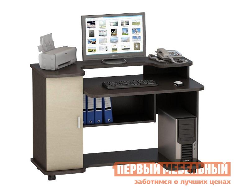 Компьютерный стол ВасКо КС 20-12 Корпус венге / Фасад молочный дубКомпьютерные столы<br>Габаритные размеры ВхШхГ 820x1200x600 мм. Компьютерный стол. Изделие изготовлено из высококачественной ламинированной ДСП, торцевые поверхности облицованы высокопрочной кромкой ПВХ.  Горизонтальные полки и столешница сделаны из более толстой ЛДСП, что обеспечивает дополнительные надежность и прочность.  Благодаря небольшой надстройке, на которой можно разместить монитор и иную оргтехнику, поверхность стола остаётся свободной.  Также в состав входит полка под системный  блок, вместительный ящик с дверцей и дополнительная полка.  Наличие колесных опор делает стол мобильным. За счёт простого, но стильного дизайна стол гармонично впишется как в домашнюю обстановку, так и в деловой офисный интерьер.<br><br>Цвет: Корпус венге / Фасад молочный дуб<br>Цвет: Темное-cветлое дерево<br>Высота мм: 820<br>Ширина мм: 1200<br>Глубина мм: 600<br>Кол-во упаковок: 1<br>Форма поставки: В разобранном виде<br>Срок гарантии: 24 месяца<br>Тип: Прямые<br>Материал: Деревянные, из ЛДСП<br>Размер: Большие, Шириной 120 см<br>Особенности: Без надстройки, На колесиках