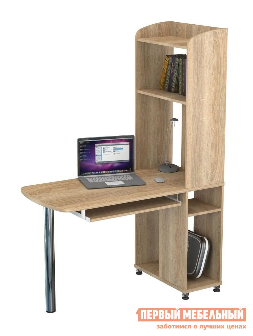Компьютерный стол ВасКо КС 20-31 м1 Дуб СономаКомпьютерные столы<br>Габаритные размеры ВхШхГ 1700x1200x600 мм. Компактный компьютерный стол.  Стол изготовлен из высококачественной ламинированной ДСП толщиной 16 и 22 мм, торцевые поверхности контактных деталей облицованы кромкой ПВХ. Стол оснащен выдвижной полкой под клавиатуру, подставкой под системный блок и вместительной надстройкой, в состав которой входит несколько полок, а также CD-держатели суммарной ёмкостью 30 дисков.  Благодаря универсальной конструкции,  можно производить сборку, как с левосторонним, так и с правосторонним расположением тумбы. Оригинальный дизайн и функциональность - главные отличительные черты данной модели.<br><br>Цвет: Дуб Сонома<br>Цвет: Светлое дерево<br>Высота мм: 1700<br>Ширина мм: 1200<br>Глубина мм: 600<br>Форма поставки: В разобранном виде<br>Срок гарантии: 24 месяца<br>Тип: Угловые<br>Материал: Деревянные, из ЛДСП<br>Размер: Большие, Шириной 120 см<br>Особенности: С надстройкой, С металлическими ножками, С полками