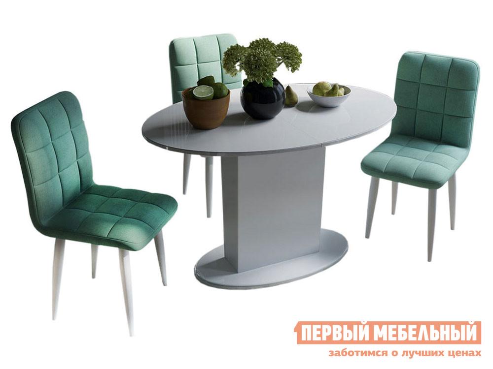 Обеденная группа ТриЯ Стол Марсель белый (маленький) + стулья Франк аквамарин на белых ножках