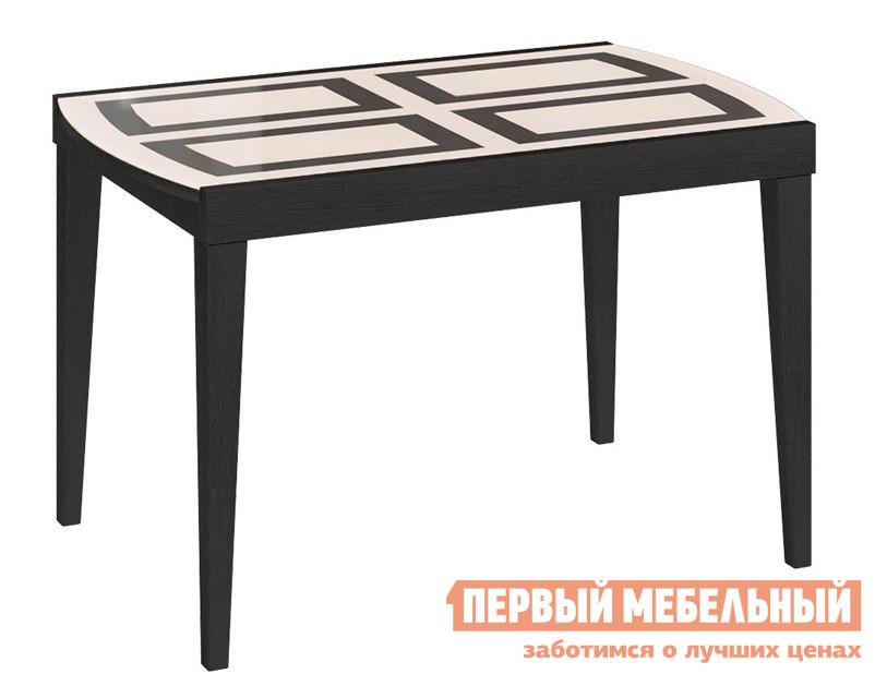 Обеденный стол Бештау Танго Т2 С-362 Венге / Бежевое глянцевое стекло с рисунком