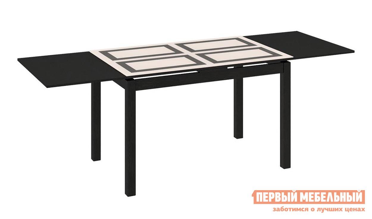 Обеденный стол Бештау Диез Т11 С-343 Венге / Бежевое глянцевое стекло с рисунком