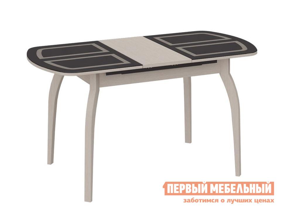 Обеденный стол  СМ-203.22.15 Дуб Белфорт / Стекло коричневое с рисунком