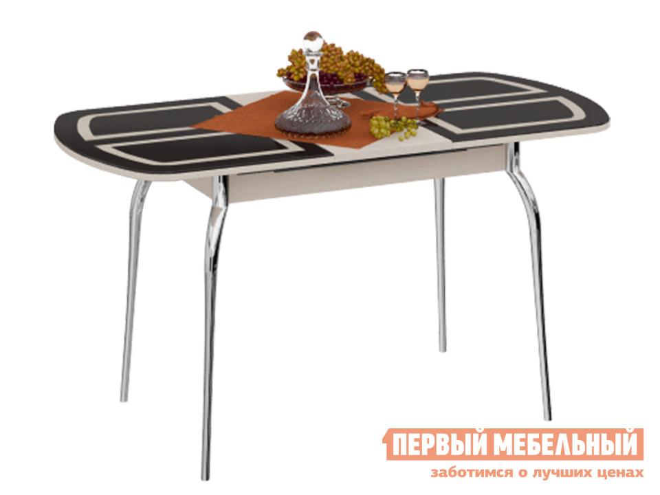Обеденный стол  Милан 3 с рисунком Дуб Белфорт / Стекло коричневое с рисунком