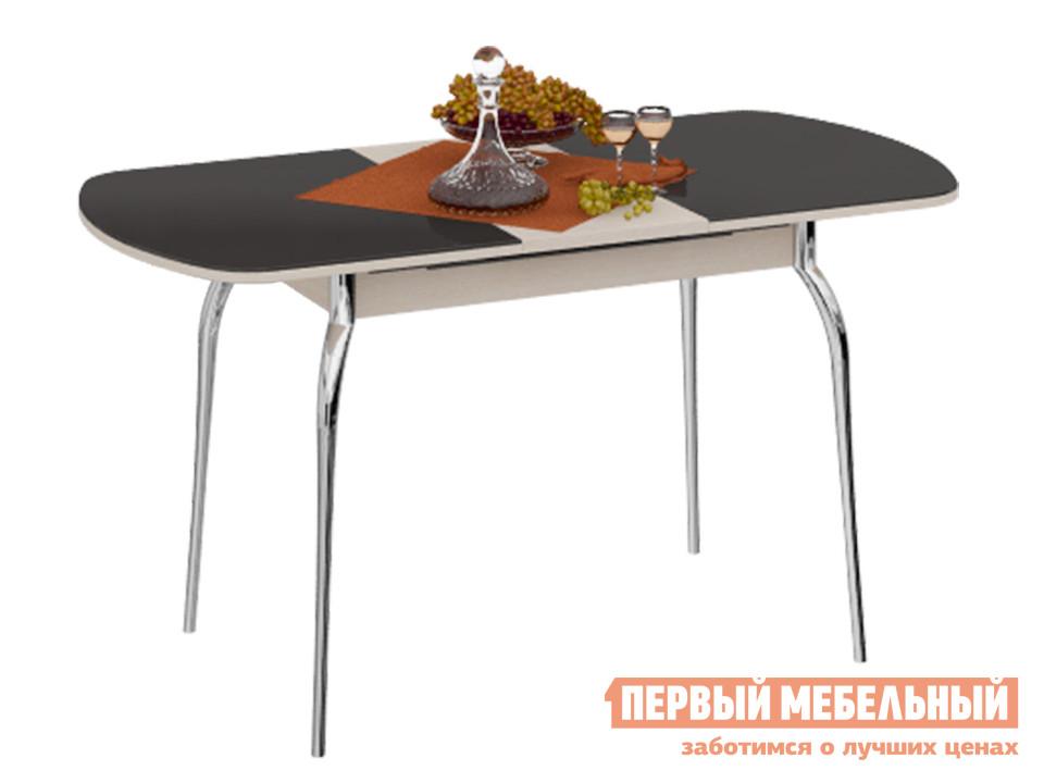 Обеденный стол  Милан 3 Дуб Белфорт / Коричневое стекло глянец