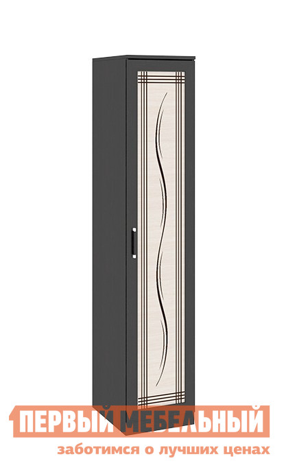 Шкаф распашной ТриЯ Токио СМ-131.07.003 Темный Венге Цаво / Дуб Белфорт с рисунком ЛинииШкафы распашные<br>Габаритные размеры ВхШхГ 2302x468x586 мм. Функциональный распашной шкаф обеспечит удобство хранения в спальне, гостиной, любой комнате.  Он оборудован пятью полками, также в комплект входит штанга для одежды.  Вы сами можете выбрать удобное для вас наполнение шкафа. Изделие универсально — направление открытия двери определяется при сборке. Модель входит в серию модульной мебели и прекрасно компонуется с другими элементами.  Вы можете составить свой индивидуальный гарнитур из модулей коллекции. Изделие изготовлено из ЛДСП, ручки — пластик.<br><br>Цвет: Венге Цаво / Дуб Белфорт с рисунком Линии<br>Цвет: Темное-cветлое дерево<br>Высота мм: 2302<br>Ширина мм: 468<br>Глубина мм: 586<br>Кол-во упаковок: 3<br>Форма поставки: В разобранном виде<br>Срок гарантии: 24 месяца<br>Тип: Прямые<br>Материал: из ЛДСП<br>Размер: Однодверные<br>Особенности: С рисунком