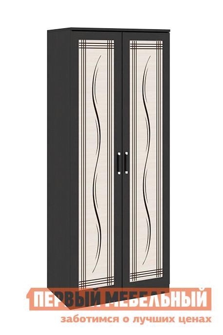 Шкаф распашной ТриЯ Токио СМ-131.08.003 Темный Венге Цаво / Дуб Белфорт с рисунком ЛинииШкафы распашные<br>Габаритные размеры ВхШхГ 2302x934x586 мм. Двухдверный распашной шкаф — прекрасное решение для организации зоны хранения в любой комнате.  Данная модель, сочетающая в себе удобство и стиль, станет настоящим украшением вашего интерьера.  Шкаф оборудован длинной штангой для развешивания вешалок-плечиков и одной верхней полкой. Модель входит в серию модульной мебели и прекрасно компонуется с другими элементами.  Вы можете составить свой индивидуальный гарнитур из модулей коллекции. Изделие изготовлено из ЛДСП, ручки — пластик.<br><br>Цвет: Венге Цаво / Дуб Белфорт с рисунком Линии<br>Цвет: Темное-cветлое дерево<br>Высота мм: 2302<br>Ширина мм: 934<br>Глубина мм: 586<br>Кол-во упаковок: 4<br>Форма поставки: В разобранном виде<br>Срок гарантии: 24 месяца<br>Тип: Прямые<br>Материал: из ЛДСП<br>Размер: Двухдверные<br>Особенности: С рисунком