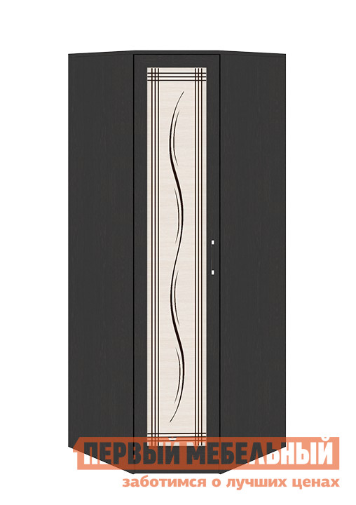 Шкаф распашной ТриЯ Токио СМ-131.09.003 Темный Венге Цаво / Дуб Белфорт с рисунком ЛинииШкафы распашные<br>Габаритные размеры ВхШхГ 2302x906x906 мм. Максимум удобства для хранения вещей при минимуме занятого места поможет организовать угловой распашной шкаф.  Небольшие габариты совершенно не уменьшают его функциональности.  Множество полок и просторное отделение с прочной металлической штангой позволят вам разместить в нём всё необходимое. Ширина боковой стороны шкафа составляет 586 мм. Модель входит в серию модульной мебели и прекрасно компонуется с другими элементами.  Вы можете составить свой индивидуальный гарнитур из модулей коллекции. Изделие изготовлено из ЛДСП, ручки — пластик.<br><br>Цвет: Венге Цаво / Дуб Белфорт с рисунком Линии<br>Цвет: Темное-cветлое дерево<br>Высота мм: 2302<br>Ширина мм: 906<br>Глубина мм: 906<br>Кол-во упаковок: 4<br>Форма поставки: В разобранном виде<br>Срок гарантии: 24 месяца<br>Тип: Угловые<br>Материал: из ЛДСП<br>Размер: Однодверные<br>Особенности: С рисунком