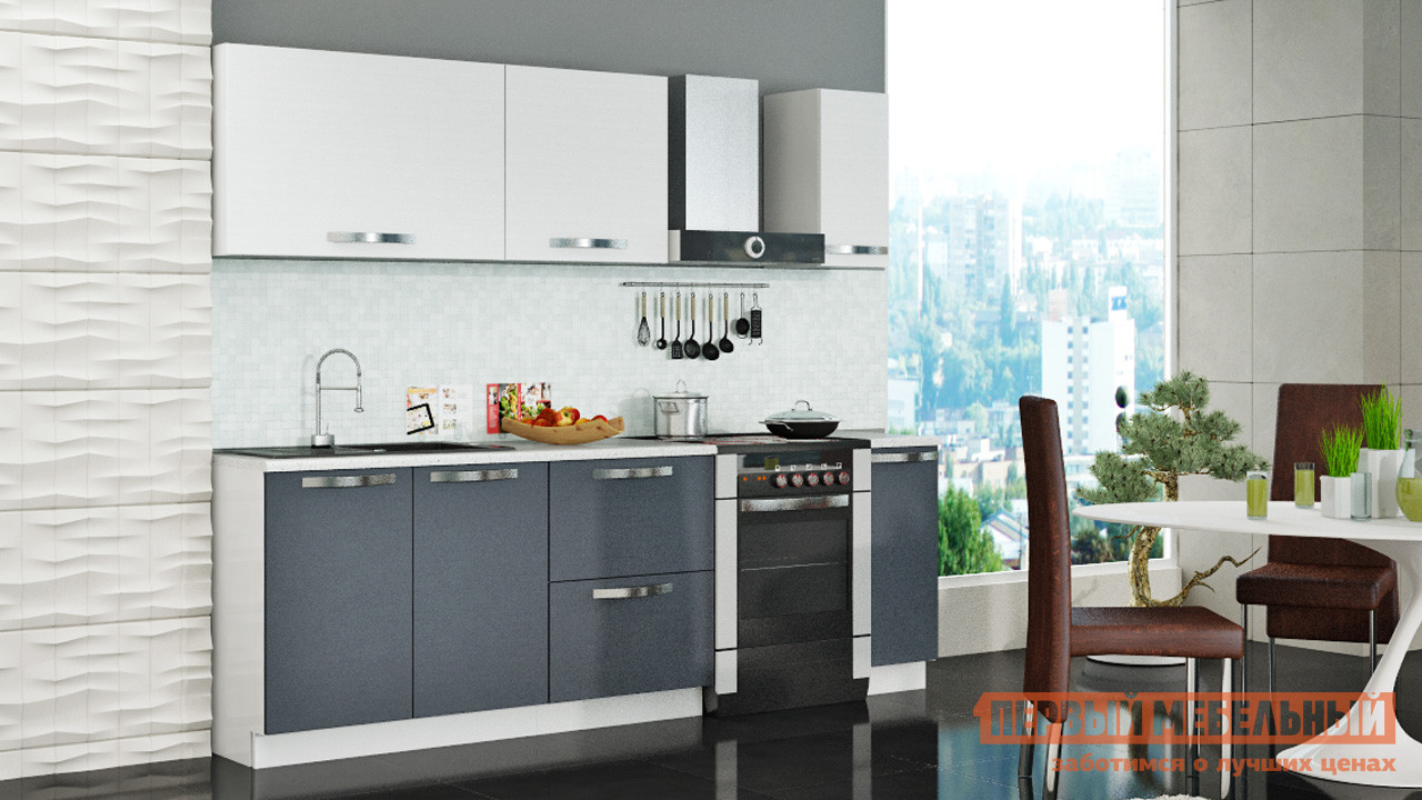 Кухонный гарнитур ТриЯ Графит 180 см кухонный гарнитур трия ассорти вишня 2 240 х 210 см