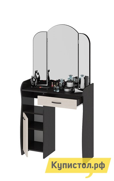 Туалетный столик ТриЯ София Т1 Венге Цаво / Дуб БелфортТуалетные столики<br>Габаритные размеры ВхШхГ 1520x786x330 мм. Компактный туалетный столик с лаконичными элегантными линиями.  Он обладает эстетичным видом и практичен в использовании. Конструкция модели эргономична, всё продумано до деталей.  Трюмо включает в себя широкую столешницу, большое зеркало, удобные полки и выдвижной ящик, в который поместятся все важные мелочи.  Зеркало имеет складную конструкцию, благодаря чему можно рассмотреть себя с разных сторон. Столик выполнен из высококачественного ЛДСП.<br><br>Цвет: Венге Цаво / Дуб Белфорт<br>Цвет: Темное-cветлое дерево<br>Высота мм: 1520<br>Ширина мм: 786<br>Глубина мм: 330<br>Кол-во упаковок: 2<br>Форма поставки: В разобранном виде<br>Срок гарантии: 24 месяца<br>Тип: Трельяжи<br>Материал: Деревянные, из ЛДСП<br>Размер: Маленькие<br>Особенности: С зеркалом, С ящиками, С тумбой, Овальное зеркало