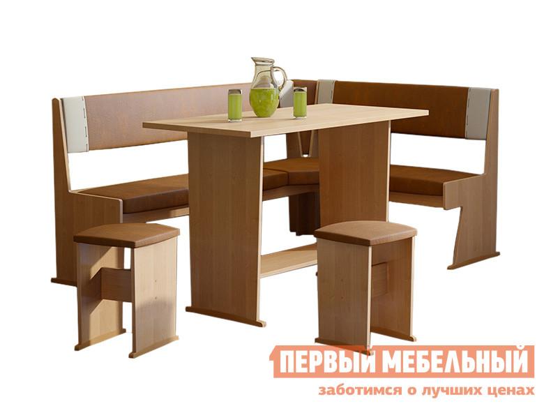 Кухонный уголок ТриЯ Амиго Ольха / Иск. кожа коричневая, бежевая
